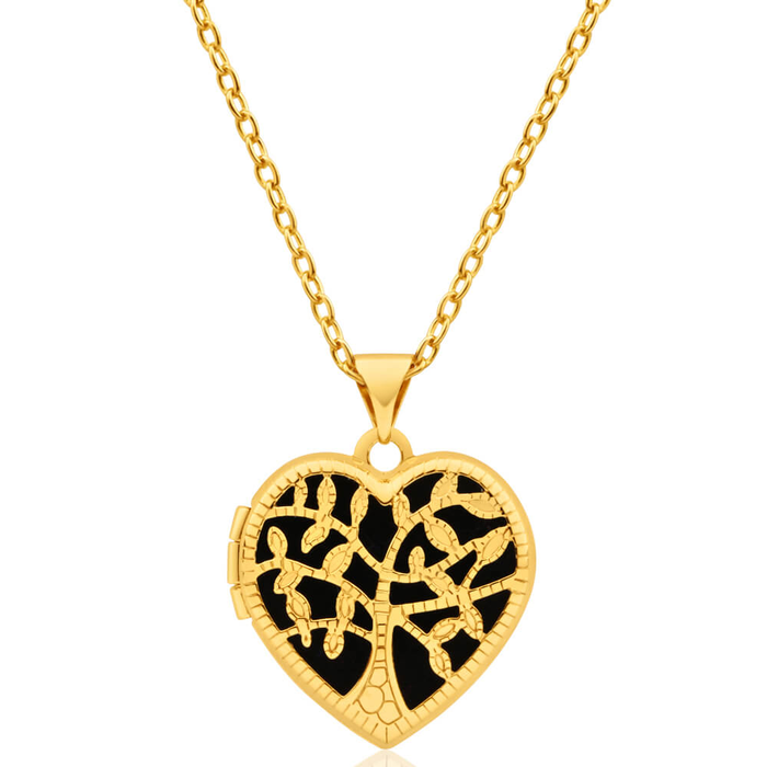 Necklaces shop chains necklaces shiels jewellers 9ct yellow gold silver filled heart shaped filigree tree of life 18mm locket pendant mozeypictures Gallery