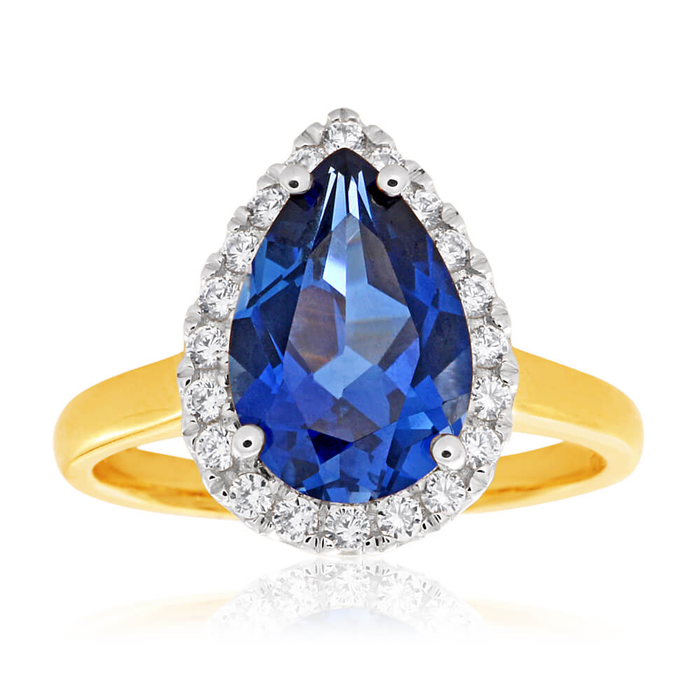 ee973a3d7 9ct Yellow Gold Pear Shaped Created Sapphire and Cubic Zirconia Halo Ring  (20251161) - Rings | Shiels Jewellers