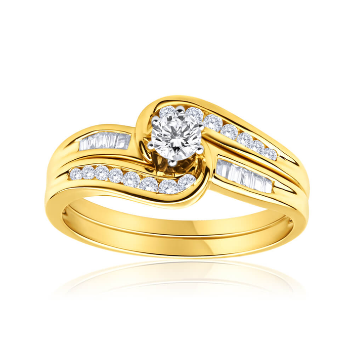 wedding engagement set yellow rings media bridal diamond gold women ring