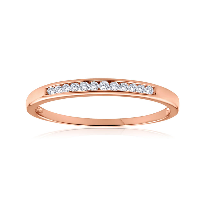 9ct Rose Gold Ring With 0 1 Carats Channel Set Diamonds