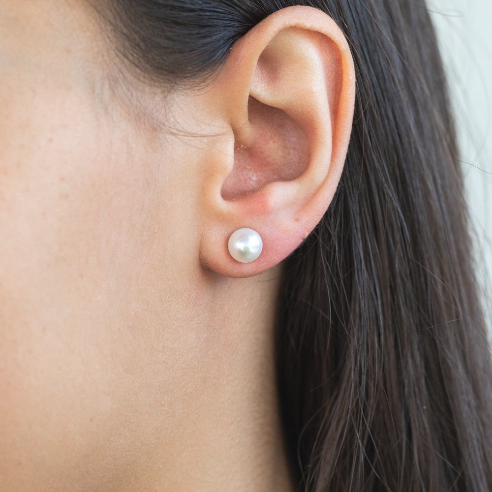 Mixed Colour Freshwater Pink White Grey Pearl Earring Stud Set