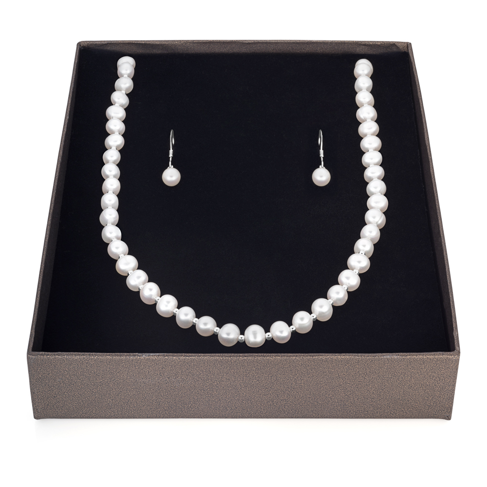 Sterling Silver White Freshwater Pearl 45cm Chain & Earring Boxed Set