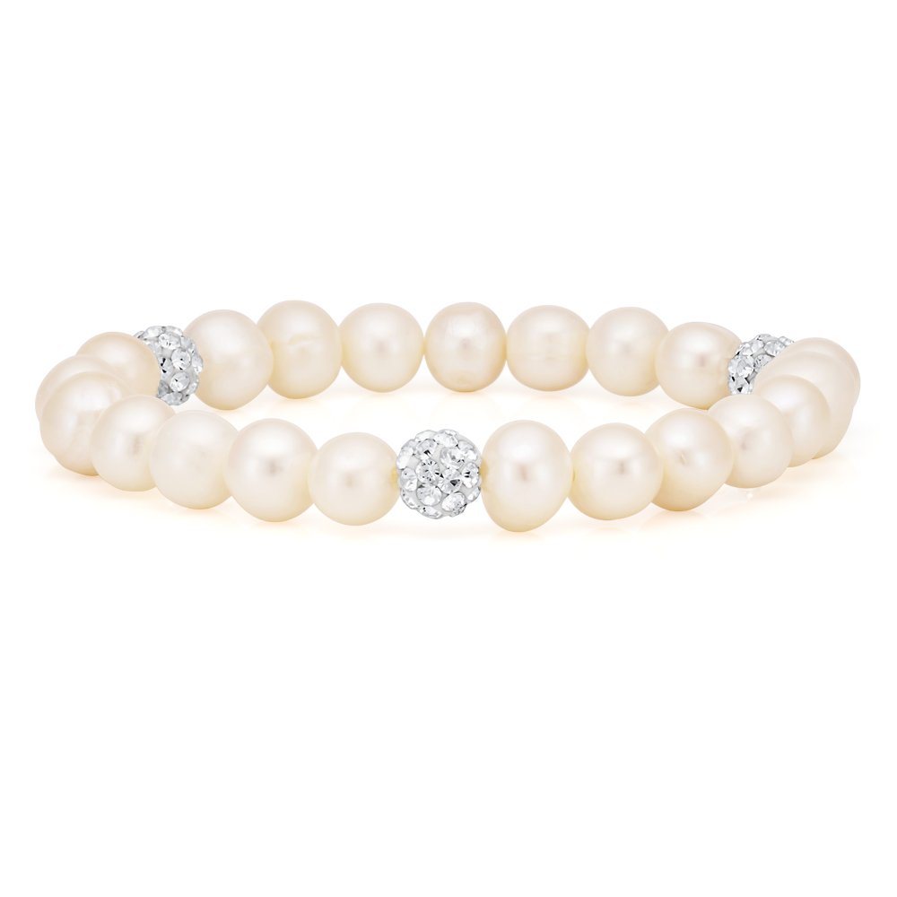 White 7.5-8mm Freshwater Pearl and Crystal Bracelet