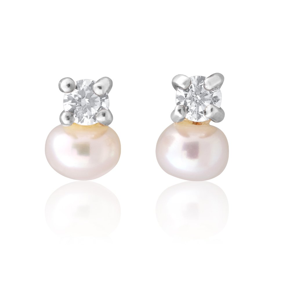 Sterling Silver Freshwater Pearl and Zirconia Studs Earrings