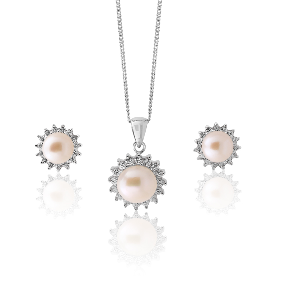 Sterling Silver Freshwater Pearl & Zirconia Pendant & Earring Set With 45cm Chain