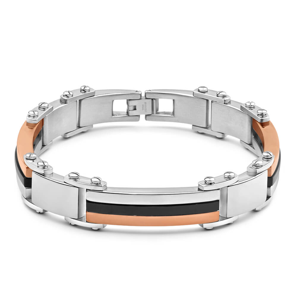 Forte Rose Gold Plated Stainless Steel Two Tone Gents Bracelet 22cm