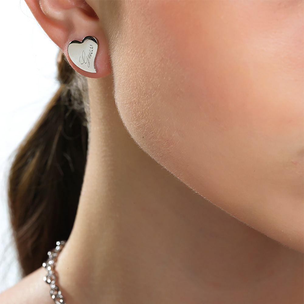 Guess Silver Plated Love Heart Stud Earrings
