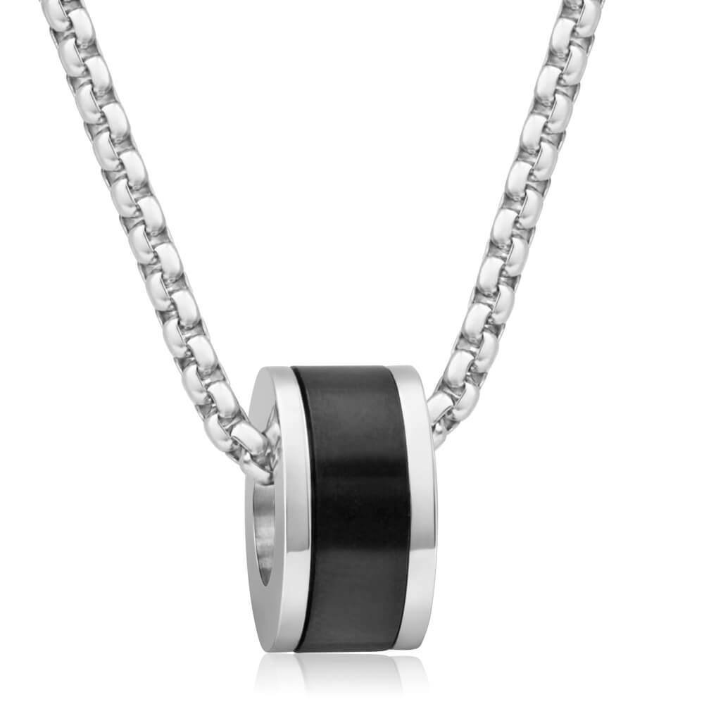 Forte Stainless Steel Black Round Pendant With 55cm Chain