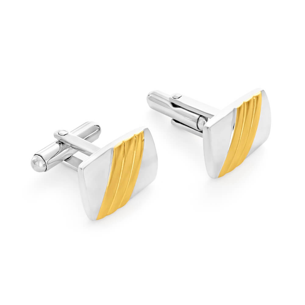 Forte Stainless Steel Gold Plated Cufflinks
