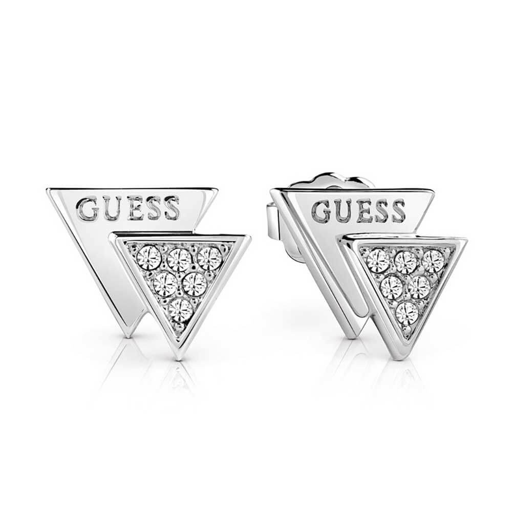 Guess Rhodium Plated Stainless Steel Stud Earrings