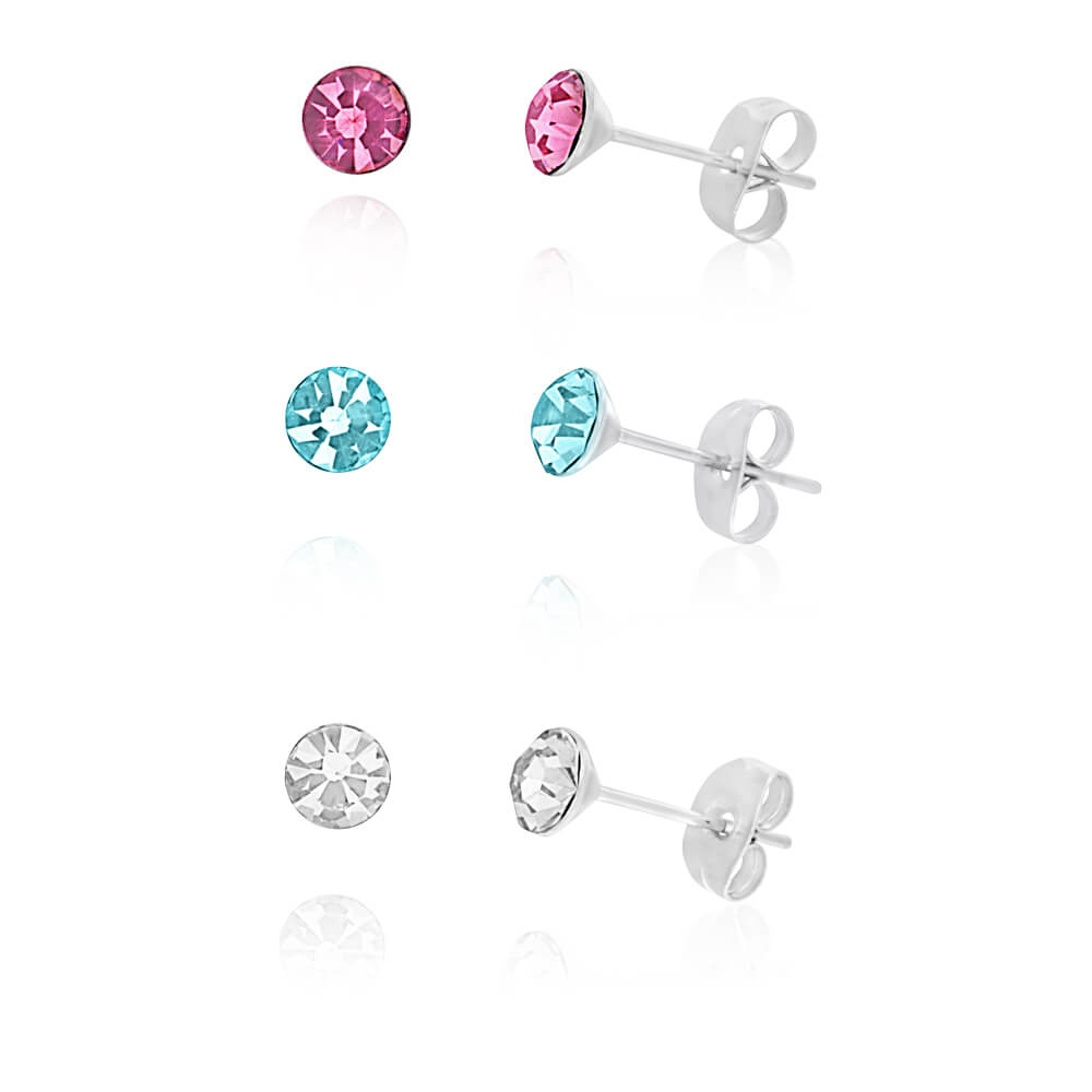 Stainless Steel Crystal Studs Set of 3 - White Aqua Fucshia