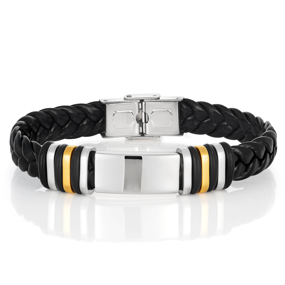 Stainless Steel Black Leather Gold Plated Gents Bracelet