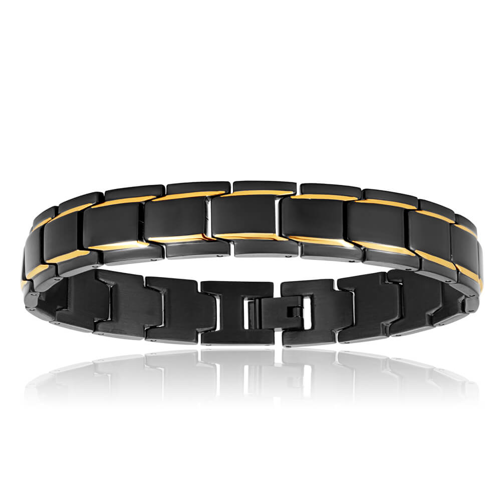 Stainless Steel 'Forte' Black and Gold Plated Gents Bracelet