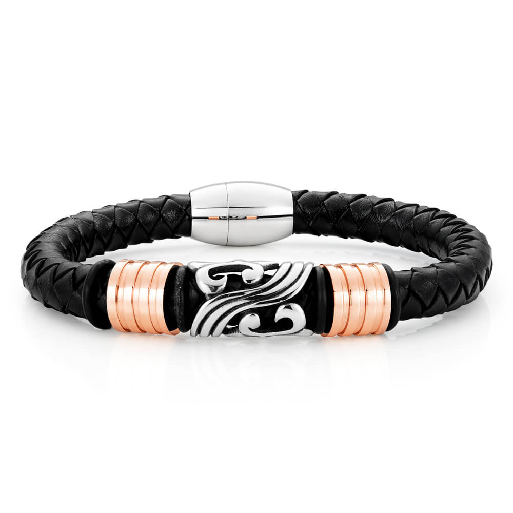 Stainless Steel 'Forte' Black Woven Gents Leather Bracelet