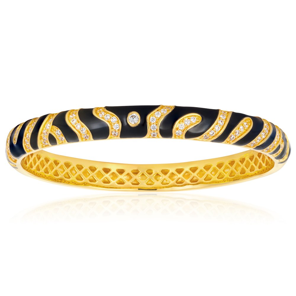 Gold Plated Enamel and Zirconia Tiger Bangle 65mm