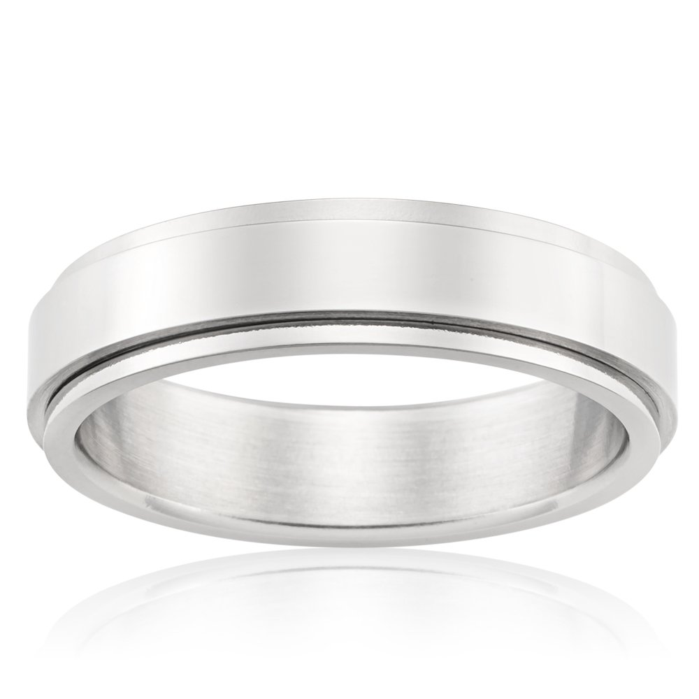 Forte Polished Stainless Steel 6mm Gents Ring with Spinning Centre
