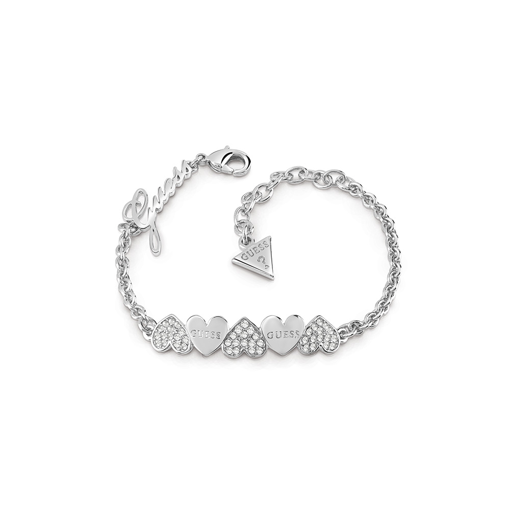 GUESS Silver Plates Fancy Hearts and Logo Bracelet
