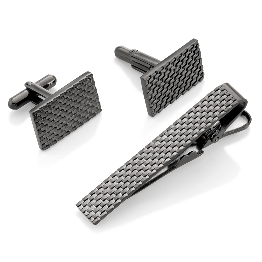Stainless Steel Gunmetal Grey Cufflink and Tie Bar Set