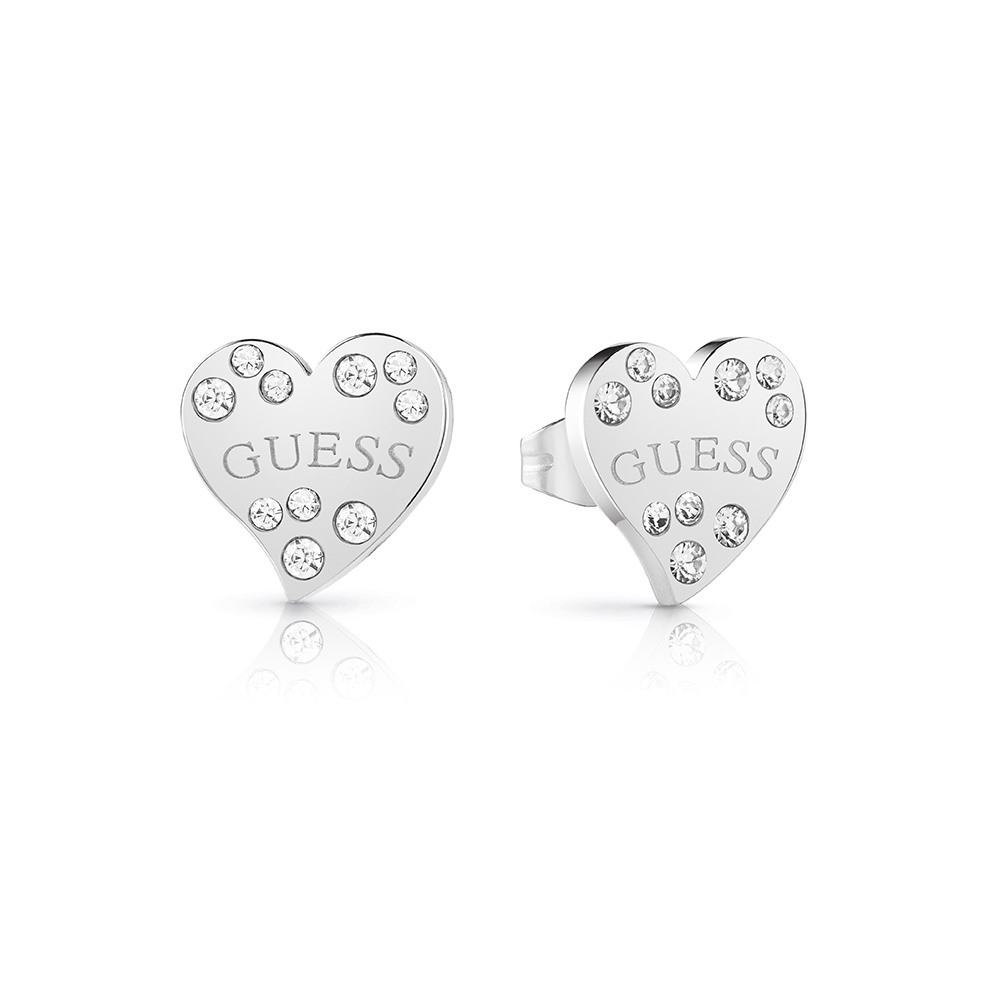 GUESS Silver Plated Stone Set Heart Stud Earrings