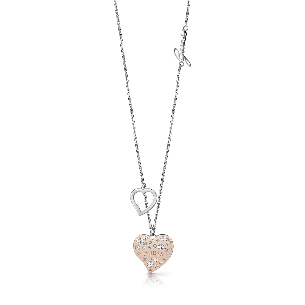 GUESS Silver and Rose Plated Stone Set Double Heart Drop Pendant