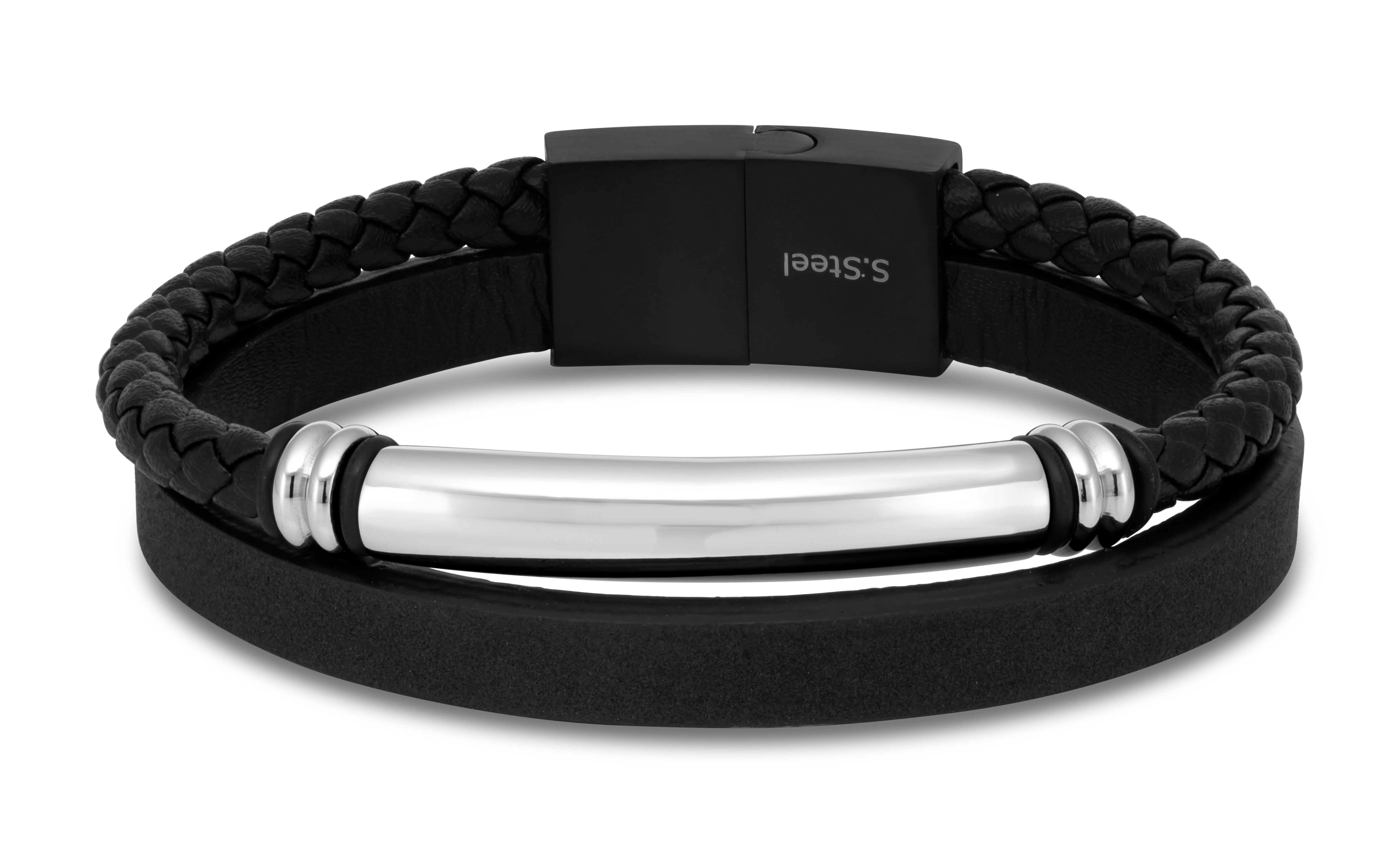 Stainless Steel 22cm Gents Leather Magnetic Clasp Bracelet with I.D. Plate