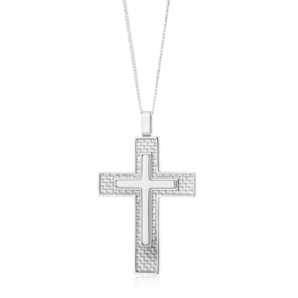 Stainless Steel Double Cross Pendant