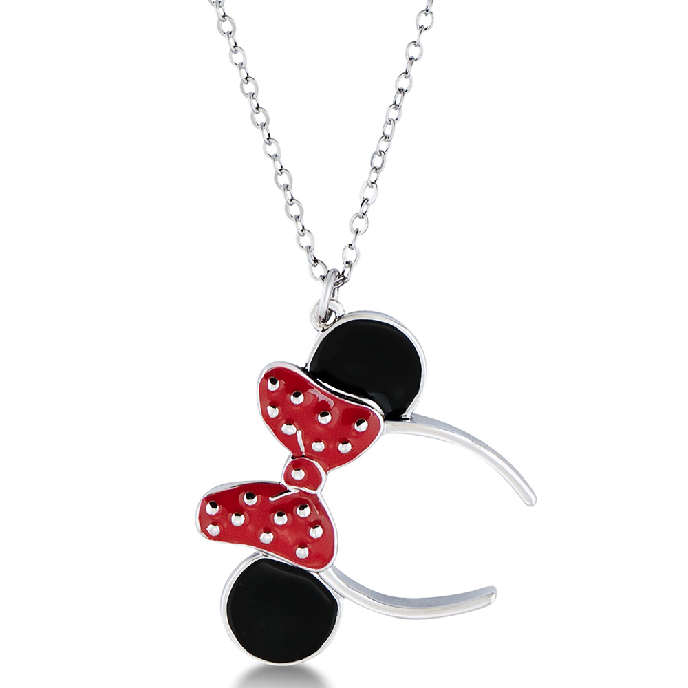 Disney Minnie Black and Red Ears and Bow Pendant on Chain
