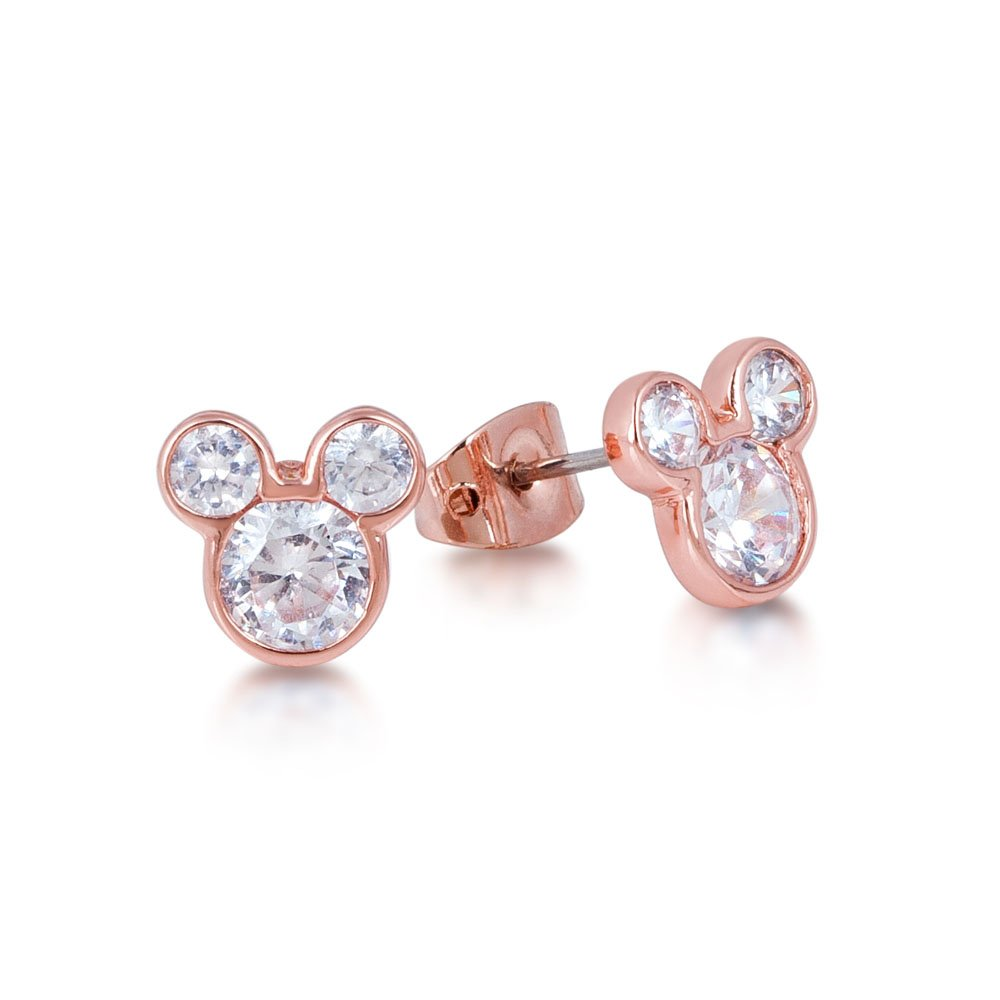Disney Rose Gold Plated Mickey Mouse Crystal Stud Earrings