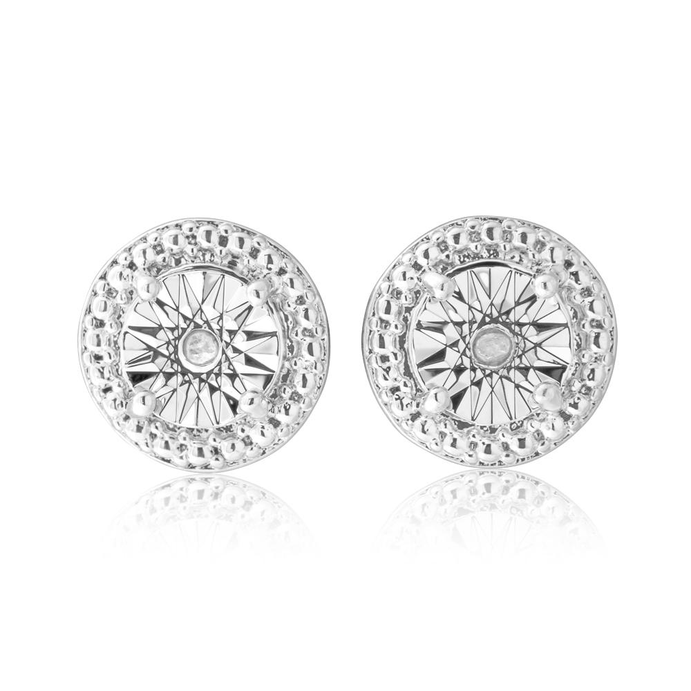 Diamond 0.02 Carats Stainless Steel Stud Earrings