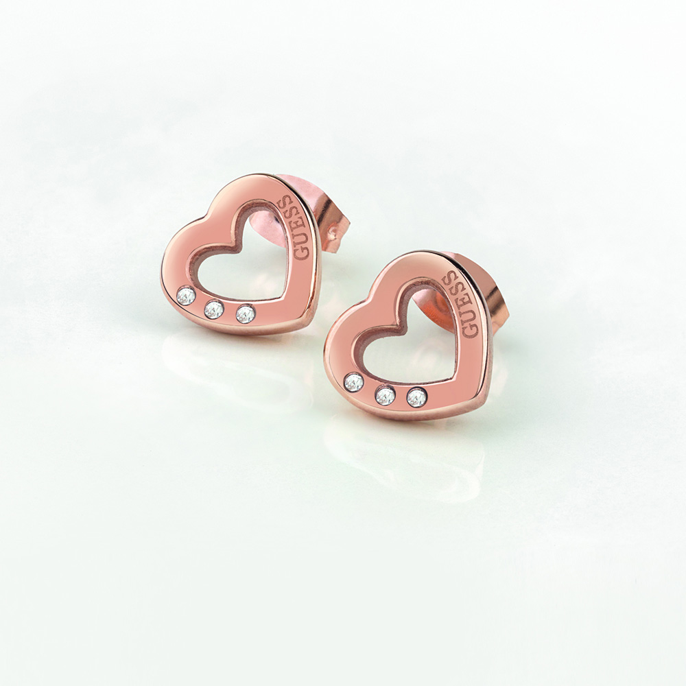 GUESS Rose Plated Heart Stud Earrings