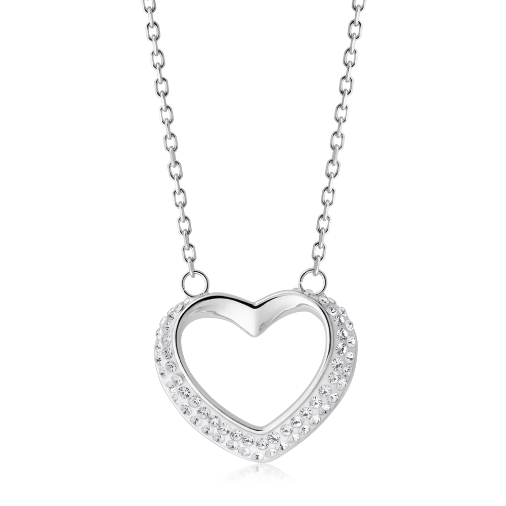 Stainless Steel Crystal Open Heart Pendant with Chain