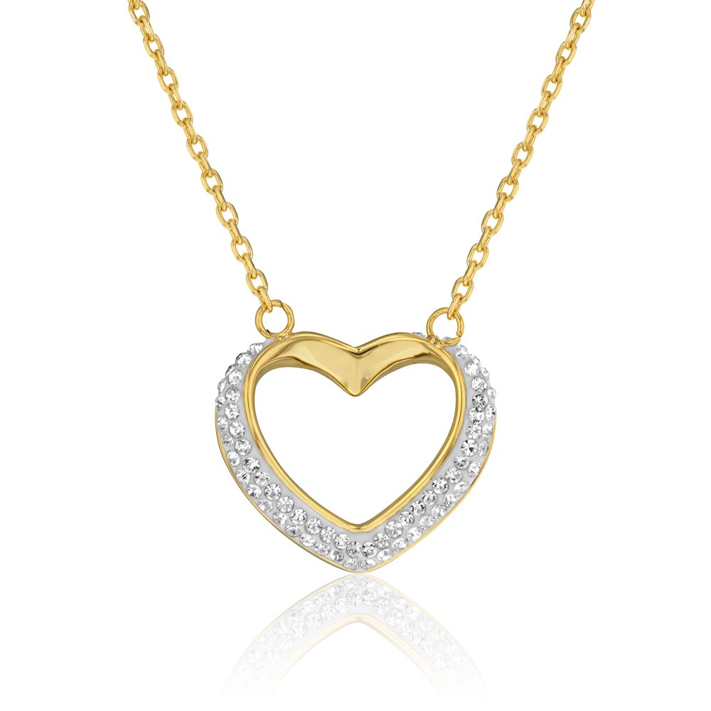 Stainless Steel Yellow Gold Plated Crystal Heart Pendant with Chain