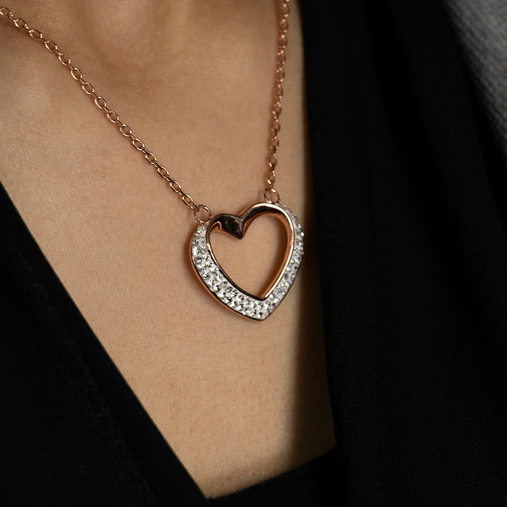 Stainless Steel Rose Gold Plated Crystal Open Heart Pendant with Chain