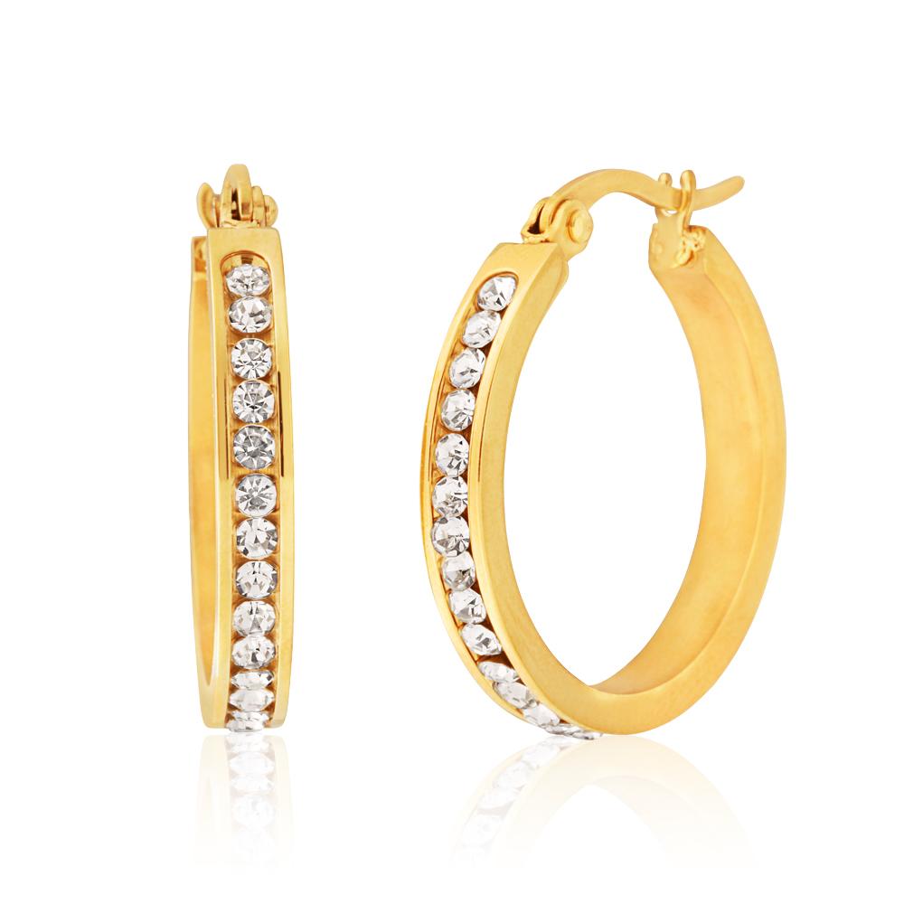 Stainless Steel Gold Plated 25mm Full Circle Crystal Hoop Earrings