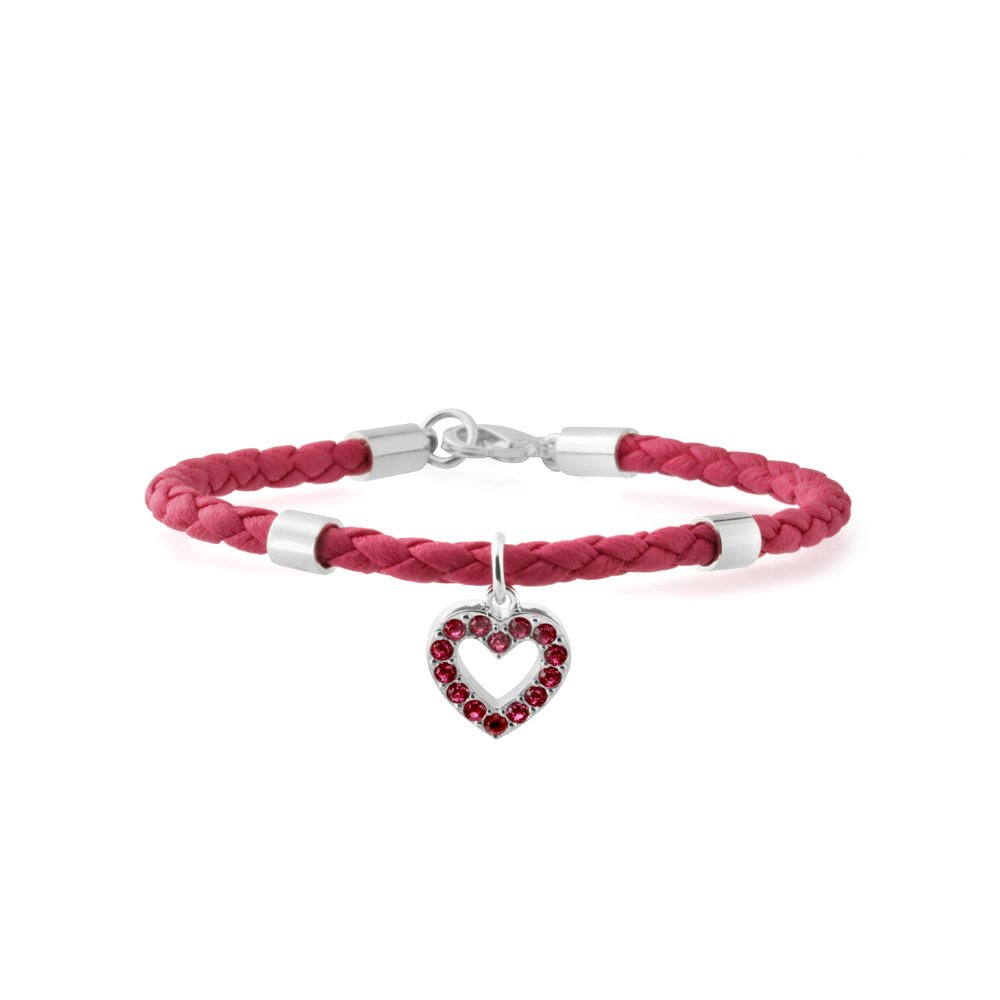 Stainless Steel Pink Leather Heart Crystal Charm Bracelet