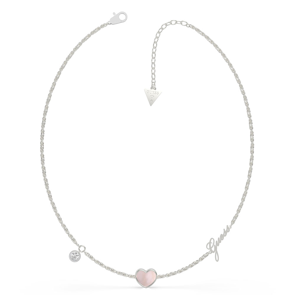 GUESS 42-45cm MOP Pink Heart and Crystal Necklace
