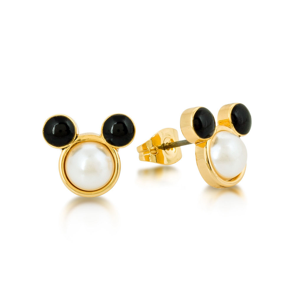 DISNEY Mickey Mouse Simulated Pearl and Black Crystal Stud Earrings
