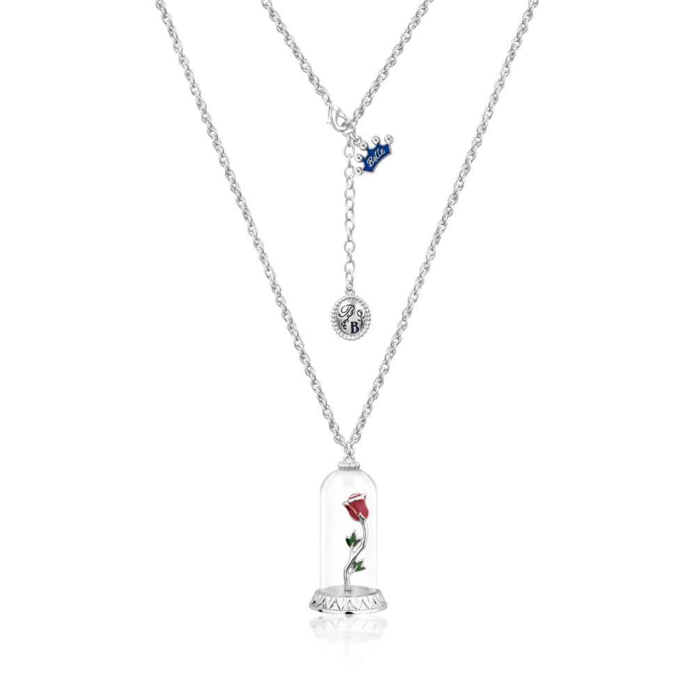 DISNEY Beauty and The Beast Enchanted Rose Necklace