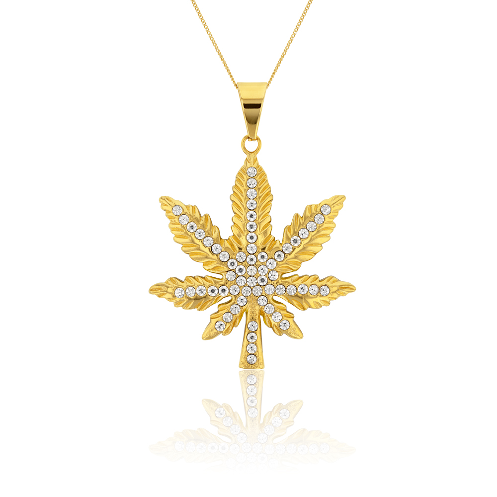 Stainless Steel Gold Plated Hemp Leaf Pendant
