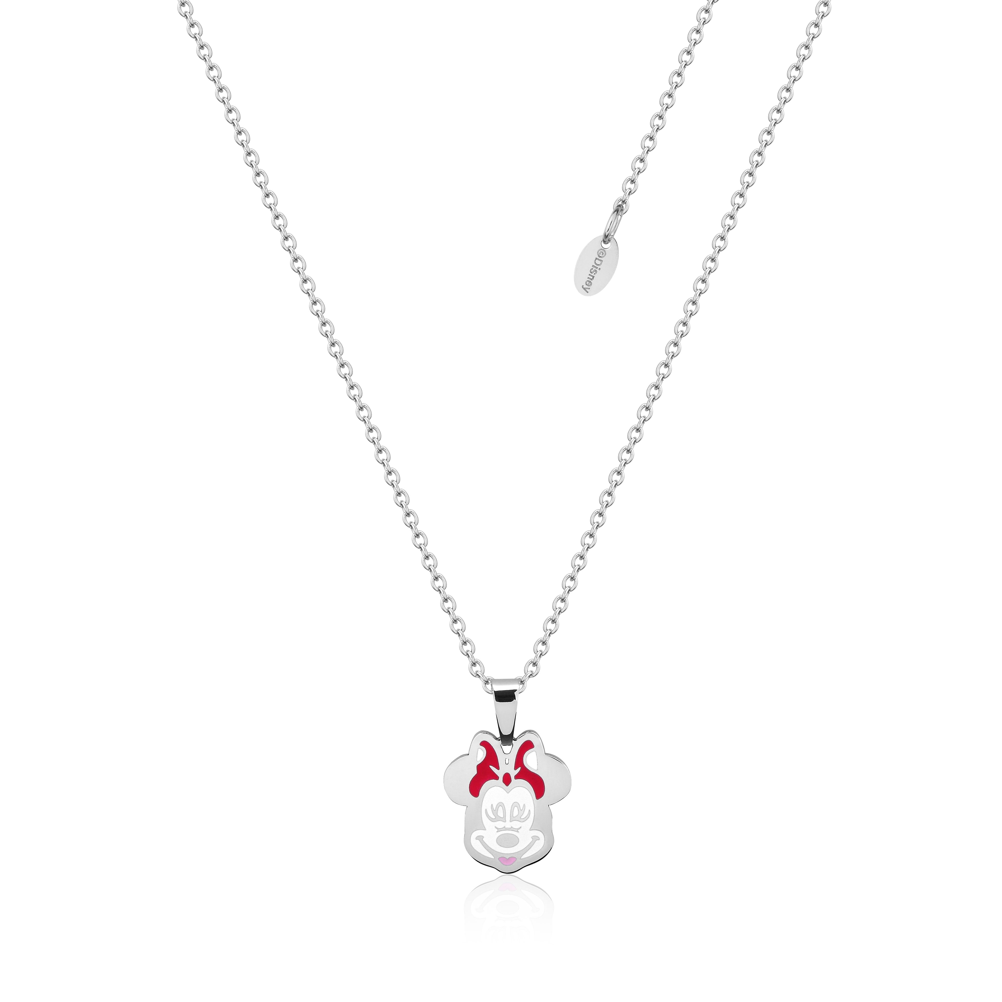 DISNEY Stainless Steel 47cm Animated Minnie Mouse Pendant on Chain