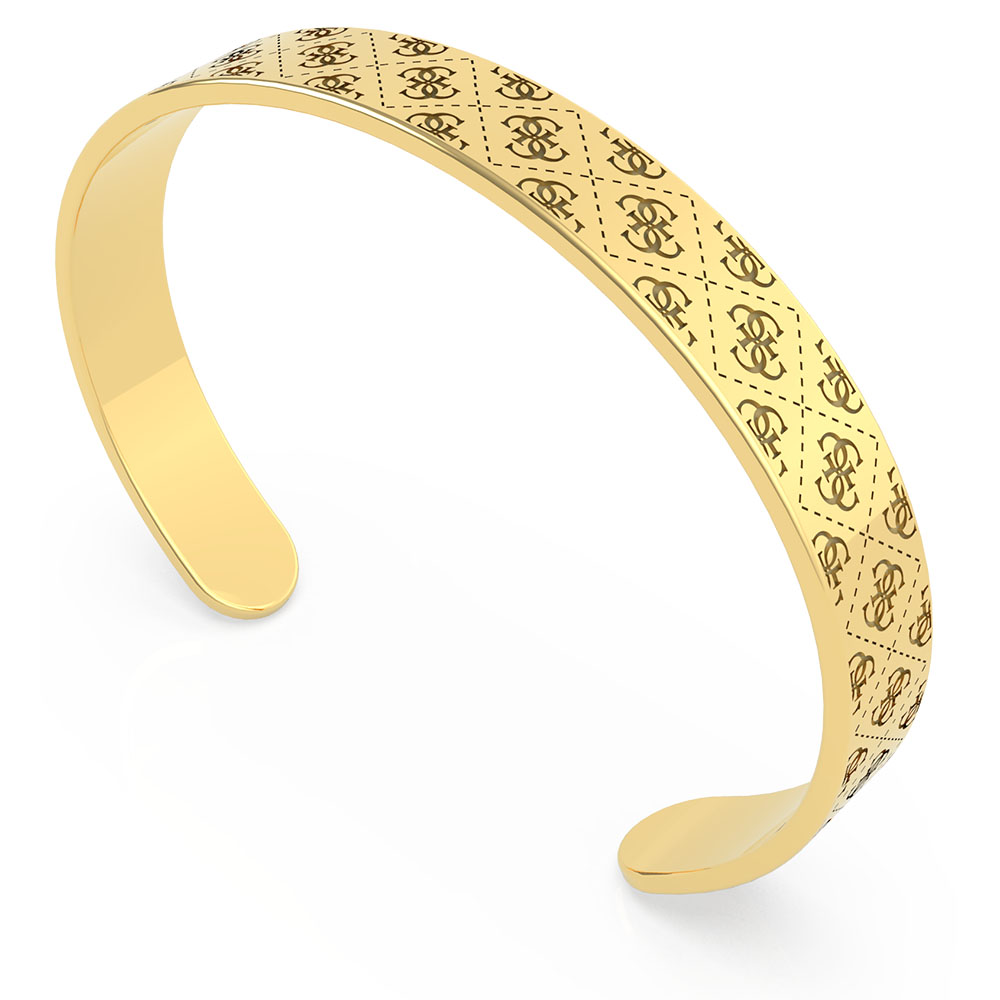 GUESS Gold Plated Stainless Steel 8mm 4G Pattern Bangle