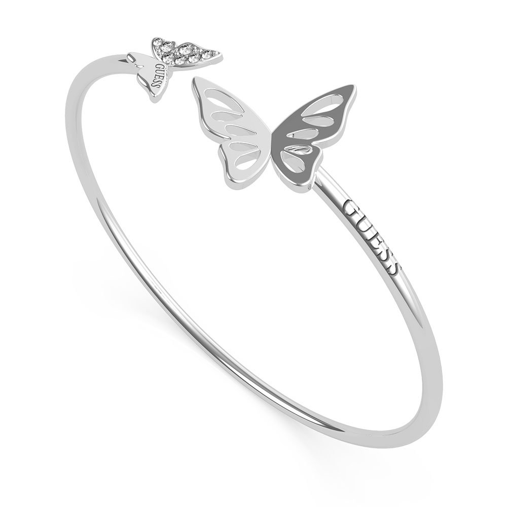 GUESS Stainless Steel Butterflies On Flexible Bangle