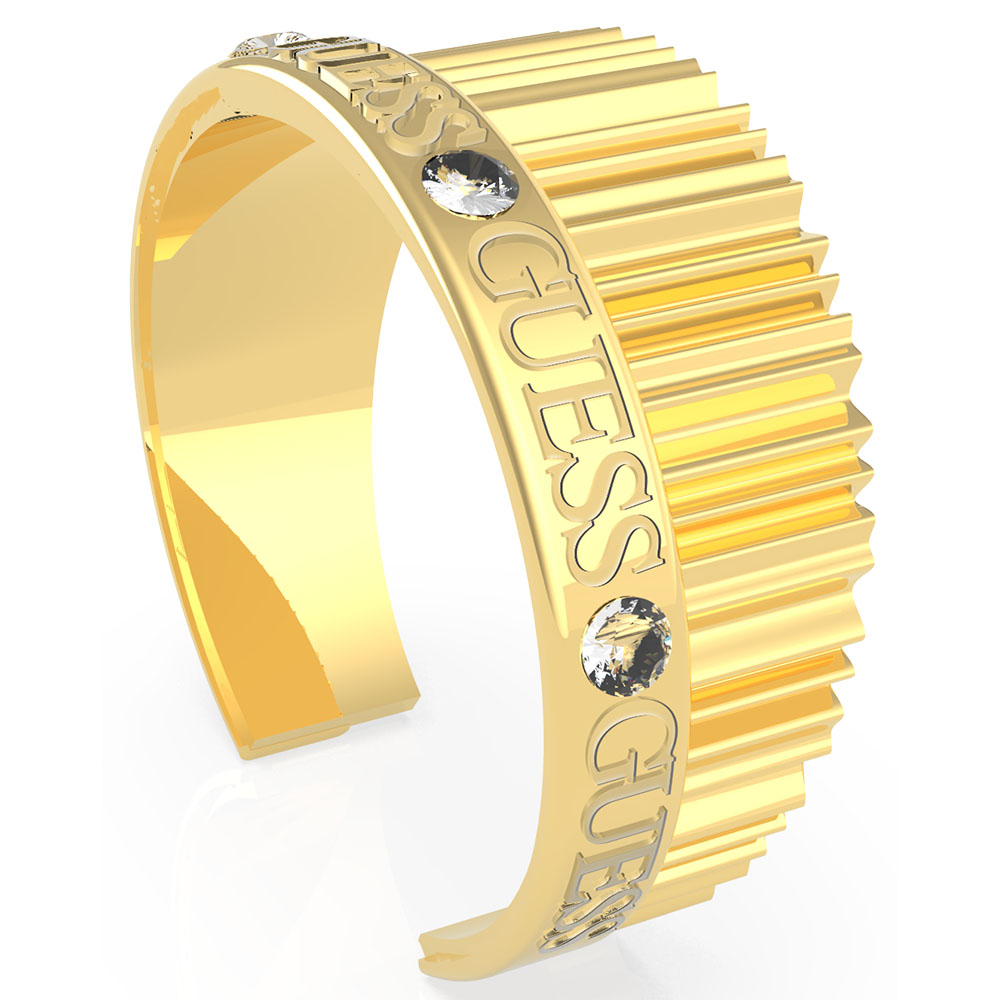 GUESS Stainless Steel Gold Plated Crystal Half Bangle