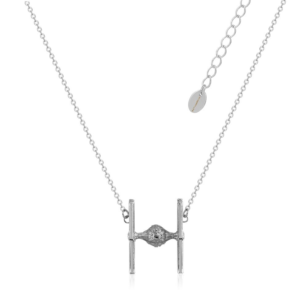 Disney Star Wars White Gold Plated Tie Fighter Pendant On 45+7cm Chain