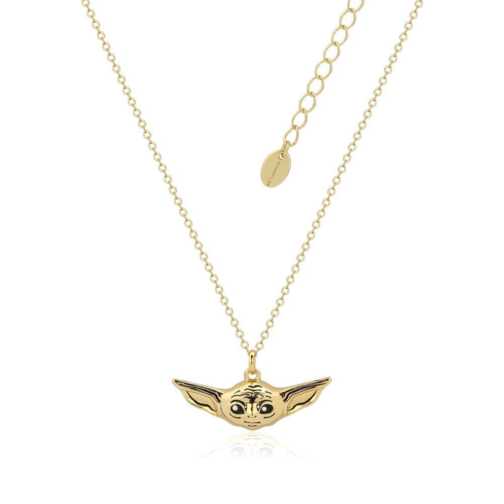 Disney Star Wars Gold Plated The Mandalorian The Child Pendant On 45+7cm Chain