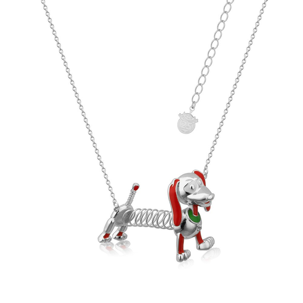 Disney Pixar Toy Story White Gold Plated Slinky Dog Pendant On Chain